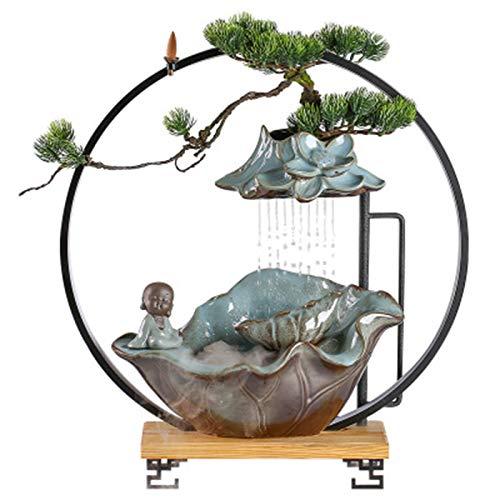 LEILEI Fuente de Agua de cerámica de Feng Shui para Escritorio,rocalla y Fuente de Agua Que Fluye para jardín Interior Fuente de Agua para jardín Adornos de Interior Lucky Water Fish Tank Gift Zen,