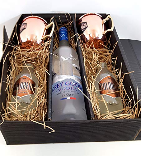 Moscow Mule Set/Geschenkset ? Grey Goose Vodka 0,7l 700ml (40% Vol) + 2x Goldberg Kupferbecher + 2x Goldberg Intense Ginger 200ml - Inkl. Pfand MEHRWEG