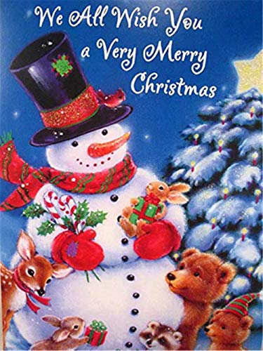 Snowman Animal Paint-by-Number Adult Beginner 16x20 Inch - Drawing with Brushes Christmas Decor Decorations Gifts (with Frame)