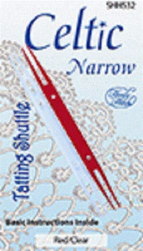 Package of 2 Celtic Narrow Tatting Shuttles-Red/Clear