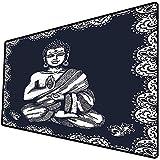 Tappetino per mouse da gioco [600x300 x 3 mm],Paisley Mandala Decor, Chakra Aura Harmony Retro Tribal Vintage Design, Base antiscivolo 45x45cm