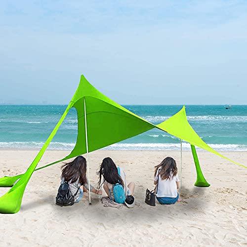 Meteor fire Pañol de la Playa con Dosel de sombrilla Resistente al Viento, UPF 50+ Shelter de protección Solar Grande con 4 sandbag, para Picnic Playa Pesca Camping al Aire Libre,Verde