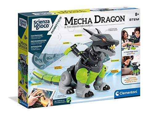 Clementoni- Science & Play-Mecha Dragon Robot Educational and Interactive Game, Multicoloured, 19170