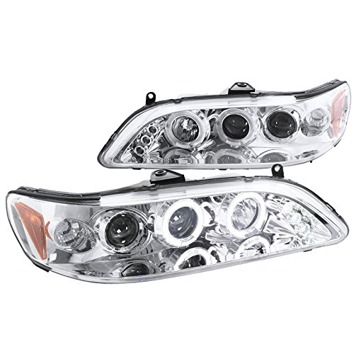 Spec-D Tuning Chrome Housing Clear Lens Projector Headlights for 1998-2002 Honda Accord Head Light Assembly Left + Right Pair