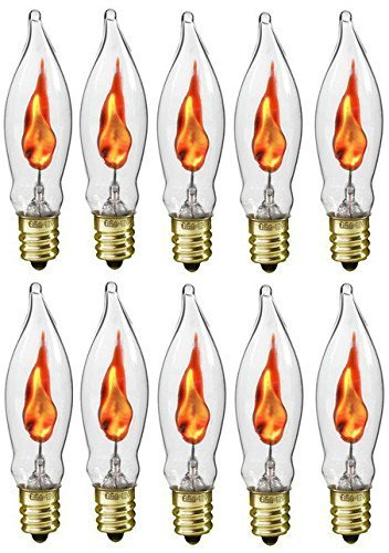 Flicker Flame Shaped Light Bulbs, E12 Replacement Bulbs, Dances with a Flickering Orange Glow, 1 Watt, 120 Volt (10-Pack)