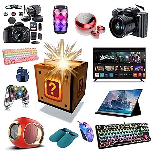ASASX Caja de misterios, Cajas ciegas misteriosas afortunadas, interesantes y emocionantes: Drones, Controladores, Auriculares, Cuaderno, teléfono móvil, Reloj Inteligente