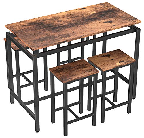 Breakfast Bar Table and Stools Set of 4, Kitchen Dining Table and Chairs Room Sets for Home Patio Table 4 Seat Small and High Bar Stools Space Saving Wood Tabletop with Black Metal Frame,120 X60 X90CM