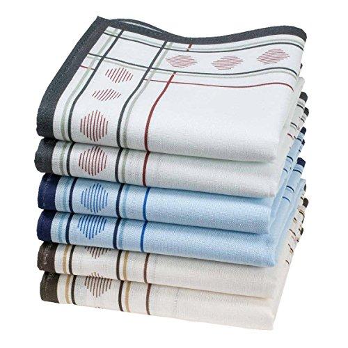 Merrysquare - Pañuelos Estampados para Hombres - Tamaño Grande 40cm x 40cm - 6 Piezas - 100% Algodón
