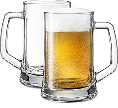 Beer Mugs, by KooK, Solid Glass, Large, Set of 2, 22oz