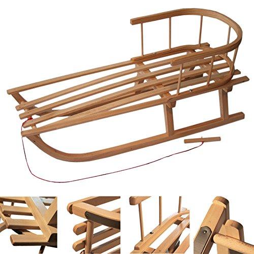 rawstyle trineo de madera con respaldo & Remolcador para ni