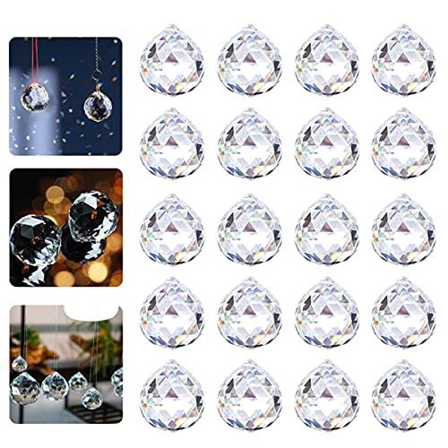 Prisma Sfera di Cristallo Chiaro Prismi a Sfera in Cristallo Trasparente Prismi a Sfera di Cristallo Prismi di cristallo a sfera di vetro per Finestra Giardino Casa Decorazioni 20 pezzi