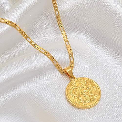 Liuqingzhou Co.,ltd Collar Mujer Auspicioso Dragón Colgante Collar y Collares de Cadena para Hombres Mujeres Joyería de Color Dorado Adornos de Mascota Regalos de la Suerte