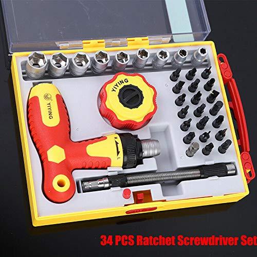Juego de llaves de vaso de 27 y 34 piezas, juego de destornilladores dinamométricos de carraca para carpinteros, cerrajeros, electricistas, mecánicos o reparadores de bricolaje
