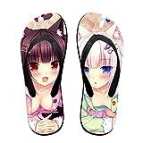 Hermosa Chica Anime Nekopara Pantuflas Tanga Sandalias Zapatillas Playa Para Mujeres Hombres Actividades Diarias Interior Al Aire Libre, color Negro, talla Small/Medium