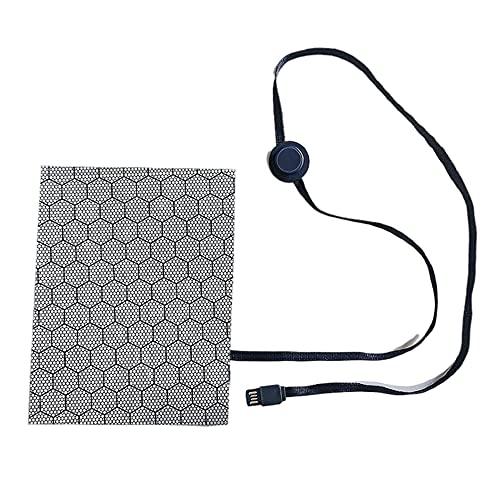 Alfombrilla calefactora de fibra de carbono USB, almohadillas calefactoras de tela eléctrica de 3 turnos para el cuello, espalda, abdomen, lumbar, pies, calentador de mascotas (35 ? -70 ?) (2PCS)