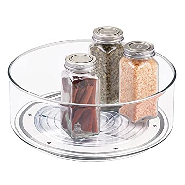 mDesign Lazy Susan Turntable Food Storage Container for Cabinets, Pantry, Refrigerator, Countertops, BPA Free - Spinning Organizer for Spices, Condiments, Baking Supplies - 9  Round, Clear