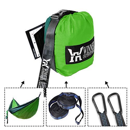 """51ZZCs23KJL - WINNER OUTFITTERS Double Camping Hammock - Lightweight Nylon Portable Hammock, Best Parachute Double Hammock for Backpacking, Camping, Travel, Beach, Yard. 118""""(L) x 78""""(W), Dark Green/Green Color"""