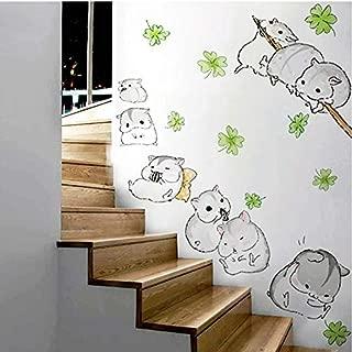 Inveroo Cute Hamster Totoro Wall Stickers Kids Nursery Children Room Cartoon Kawaii Murals Lovely Anime Guinea Pig Wallpaper Home Decor