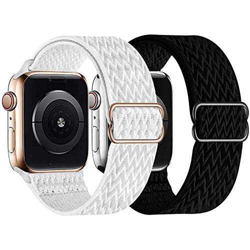 UHKZ 2 Pack Stretchy Solo Loop Compatible with Apple Watch Bands 38mm 40mm 42mm 44mm,Adjustable Braided Sport Elastic Nylon Wristband for iWatch Series 6/SE/5/4/3/2/1,Black/White,38/40mm