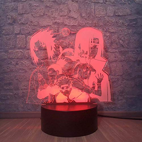 Naruto - Lámpara de noche de diseño Uchiha Itachi Shikamaru Sasuke Sakura Kakashi Anime lamp Home mesita decorativa USB easy Lighting Teens Room Cartoon Bulb