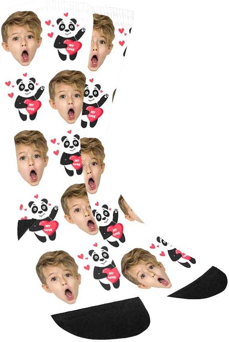 Custom Dog Face Socks Personalized Funny Panda and Hearts My Lov