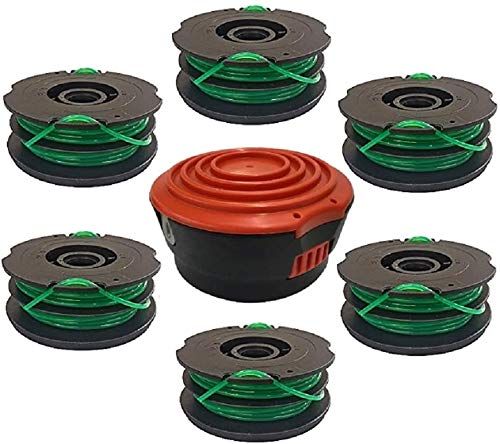 EFP Replacement Dual Line Auto Feed Spool Kit Compatible with Black & Decker DF-080-BKP GH1000 Model Lawn Trimmers Edger | 6 Spools (30 Feet Each) + Bump Head and Cap
