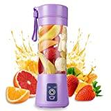 Yumun Portable Electric USB Juice Maker Personal Juicer Blender Rechargeable USB with Mini Blender for Smoothie, Fruit Juice Milk Shakes 380ml Four 3D Blades for Great Mixing Bottle (Multicolour)
