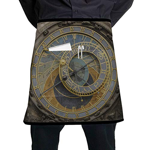JINCAII Küchenmänner Schürze alte Uhr in der Altstadt farbige Taille Schürze mit großer Tasche Unisex für die Küche Handwerk Grill Zeichnung
