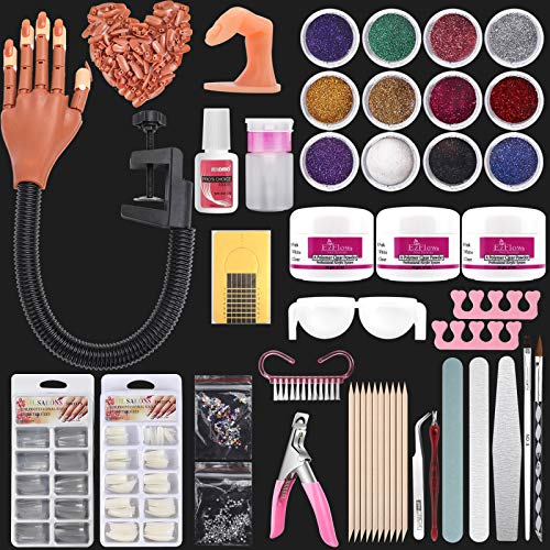 LIONVISON Practice Hand for Acrylic Nails,Flexible Nail Practice Hands Fingers with Acrylic Nail Kit,Fake Nail Mannequin Hand Acrylic Powder Brush Nail Art Decoration Tools for Professional Beginners
