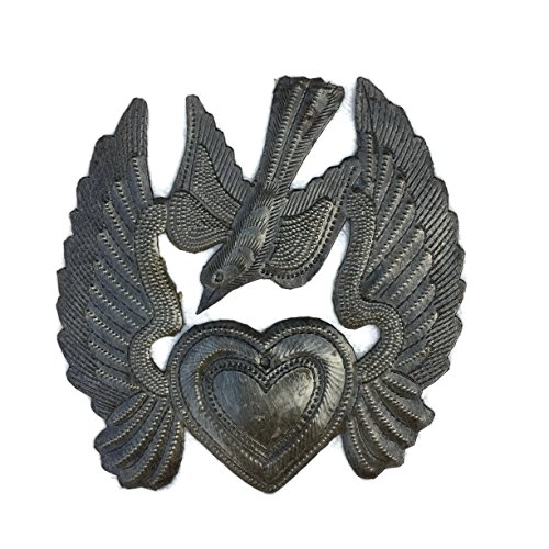 Worry Heart, Metal Heart with Wings, Take Your Worry Away, Small Milagro Flaming Heart, Flying Heart, Angel Wings, Mini Bird, Ornaments, Handmade 5 in. x 5.25 in.