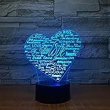 KangYD Luz nocturna 3D Creative Heart Letters, lámpara de ilusión óptica LED, B - Base negra remota (16 colores), Lámpara de escritorio, Decoración del bar, Regalo de decoración