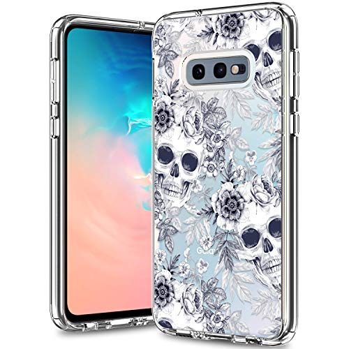 BICOL Galaxy S10e Case,Skulls Floral Pattern Clear Design for Girls Women Transparent Plastic Hard Back Cover with Soft TPU Bumper Protective Phone Case for Samsung Galaxy S10e -71