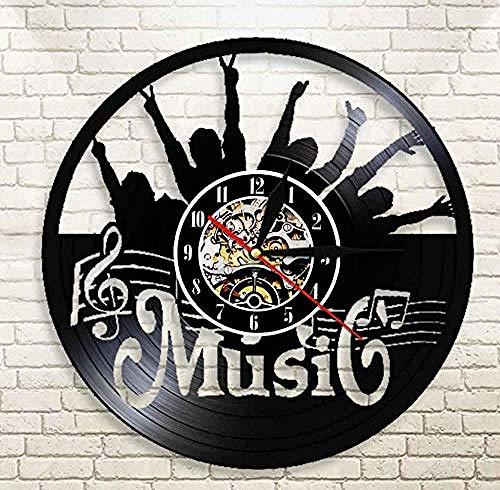 ZZNN Reloj de Pared de Vinilo Pon tu Mano Música Rock N Roll Vinyl Record Reloj de Pared Colgante Moderno Reloj silencioso Decoración para el hogar Rock Music Lover Gift jnsd2766