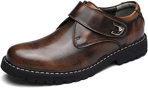 XHD-Chaussures Chaussures habillées pour Hommes en Cuir véritable de Haute qualité à Bout Rond en Cuir véritable à Boucle Auto-agrippante (Couleur   Marron, Taille   39 EU)