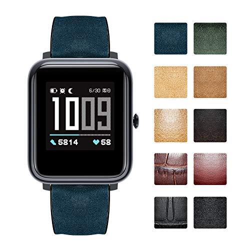 Cinturini di ricambio compatibili con Amazfit Bip/GTS/GTR 42mm 47mm/Amazfit Pace/Stratos Smartwatch Cinturini per orologi ibridi in silicone flessibile impermeabile in pelle (20mm/22mm)