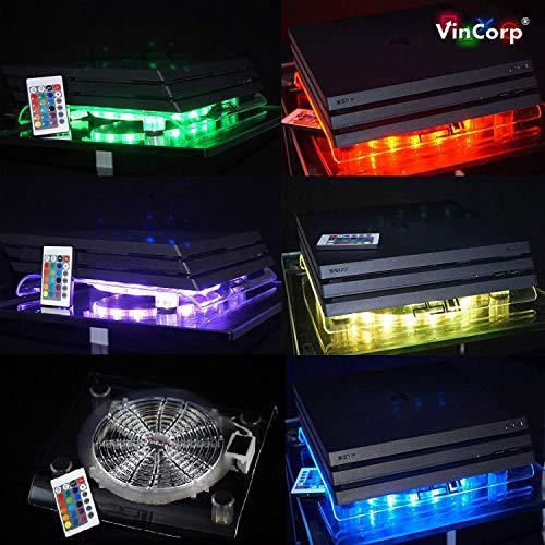 VINCORP El Original USB Design Cooler Multicolor RGB LED 19cm Ventilador y Soporte para PS4 Playstation 4 Pro Slim PS3 3