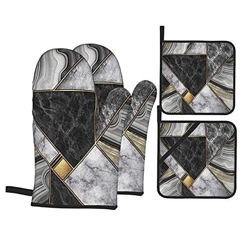 Juego de 4 Manoplas para Horno y Soportes para ollas,Azulejos de Mosaico Modernos con Fondo Abstracto,Guantes de poliéster para Barbacoa creativos con Forro acolchador,cocinar