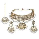 Aheli Vergoldete Kundan Pearl Indische Traditionelle Designer-Halskette mit Maang Tika festlichen ethnischen Schmuck für Frauen Mädchen