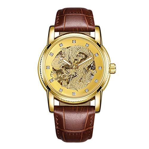 Herrenuhren Chinesischer Drache Persönlichkeit Geprägtes Zifferblatt Dynamische Spucke Perle Mode Uhr Diamant wasserdichte Uhr Gold Drachen Braunen Gürtel