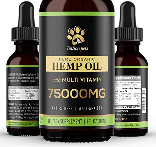 Billion Pets - Hemp Oil for Dogs Cats - Separation Anxiety, Joint Pain, Stress Relief, Arthritis, Seizures, Chronic Pains, Anti-Inflammatory - Omega 3, 6, 9-100% Organic - Calming Drops
