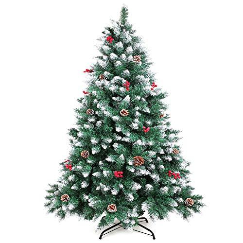 WEWILL Albero di Natale Artificiale Bacche Rosse Pino Bianco Naturale per Decorazioni Natalizie Feste di Natale, Supporto in Metallo Stabile(180cm)