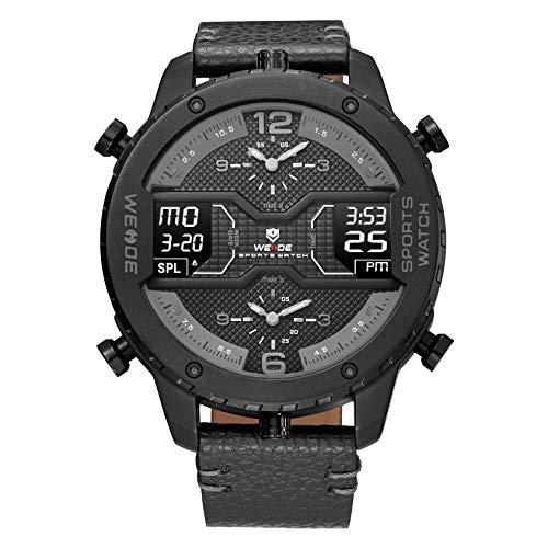 WEIDE Reloj de pulsera para hombre con 3 zonas horarias, pantalla LCD analógica, calendario, fecha y día, cuero auténtico
