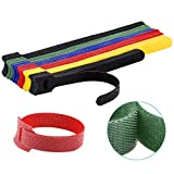 60PCS Reusable Cable Ties, Newlan 2 Size Adjustable Cable Straps(50PCS 8 Inches 10PCS 6 Inches, Cable Organizer, Cord Wrap and Hook Loop Cords Management - 5 Colors