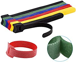 60PCS Reusable Cable Ties, Newlan 2 Size Adjustable Cable Straps 50PCS 8 Inches 10PCS 6 Inches, Cable Organizer, Cord Wrap and Hook Loop Cords Management - 5 Colors