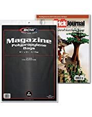 "BCW Crystal Clear 2-mil Polypropylene Magazine Bags 8-3/4"" X 11-1/8"" with 1-1/2"" Flap. (100-Count)"