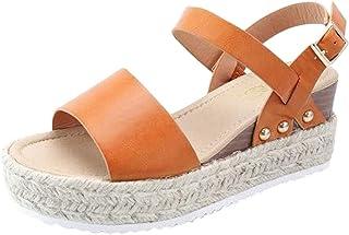 Lloopyting Sandalias de Plataforma y cuña para Mujer, Parte Inferior Gruesa, con Hebilla Abierta, con Correa para el Tobillo, Zapatos de Danza de Rendimiento