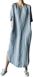 FSSE Women Loose Cotton Linen Short Sleeve Solid Split Beach Party Maxi Dress