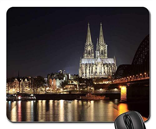 Schreibtischunterlage,Kölner Dom Dom Wahrzeichen Abend Gothic Soft Comfortable Gaming Mouse Pad,22cmx18cm