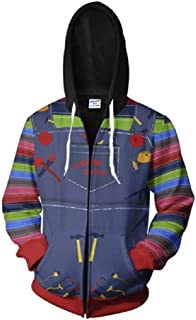 lilliween Chucky Hoodie T-Shirt Good Guys Cosplay Costume Jacket Hooded Sweatshirt Coat Adults