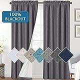 H.VERSAILTEX - Cortinas opacas para dormitorio, 100 % con textura de lino, para oscurecimiento de la habitación, para sala de estar, con aislamiento térmico, con forro blanco